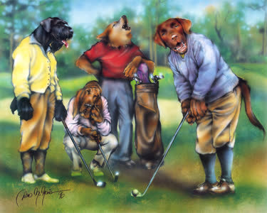 Dogs Playing Golf