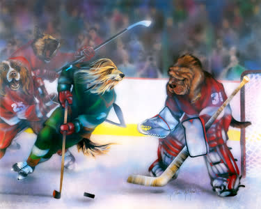 Dogs Playing Hockey
